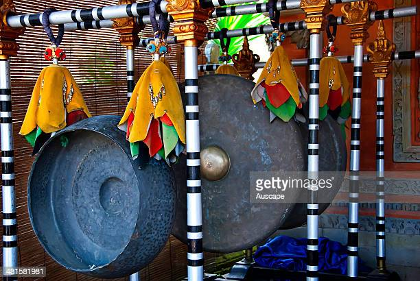 Cymbals gongs and drums form the basis of Balinese traditional music temple or pura Bali Indonesia