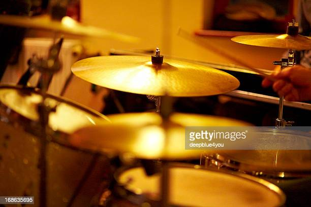 Cymbals, hi hat on stage