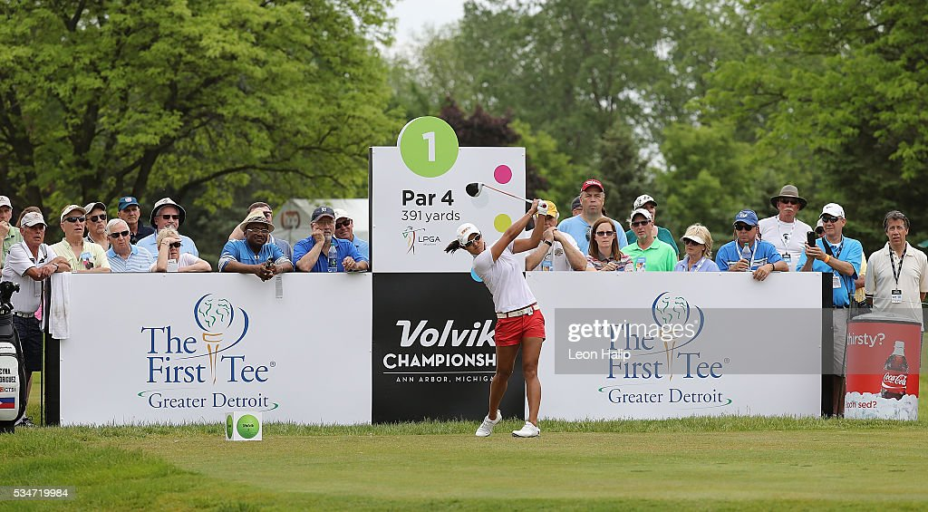 Cyna Marie Rodriguez from the Philippines tees off on the first hound during the second round of the LPGA Volvik Championship on May 27, 2016 at Travis Pointe Country Club Ann Arbor, Michigan.