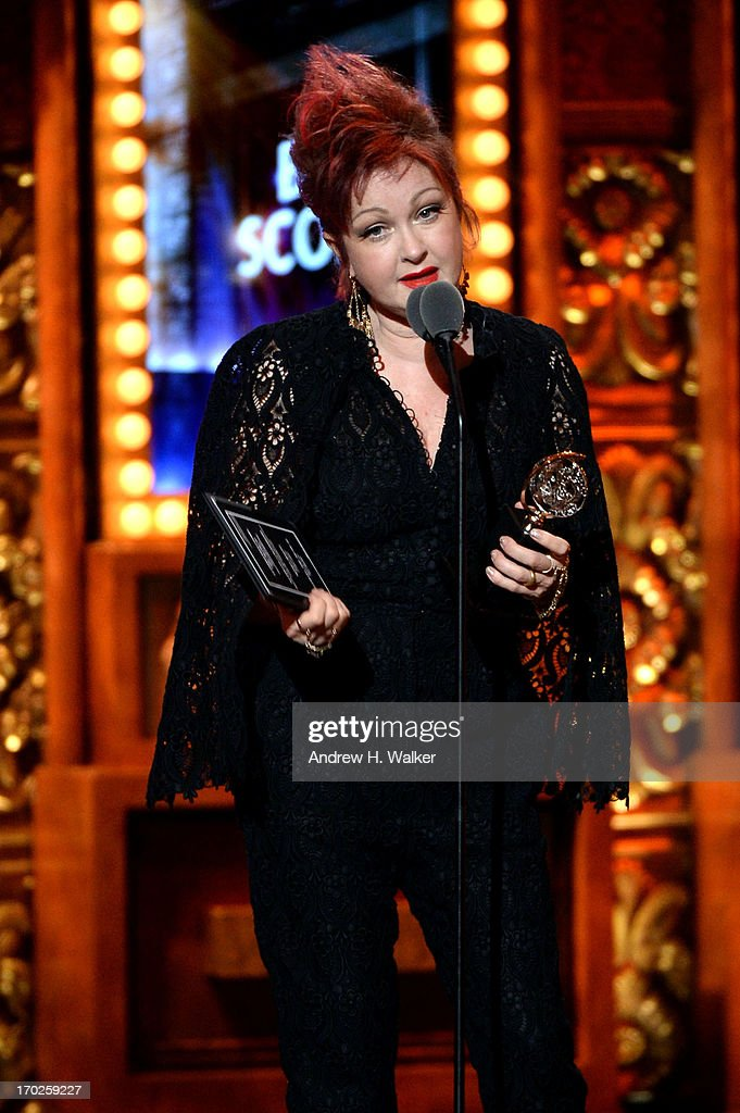 <a gi-track='captionPersonalityLinkClicked' href=/galleries/search?phrase=Cyndi+Lauper&family=editorial&specificpeople=171290 ng-click='$event.stopPropagation()'>Cyndi Lauper</a> accepts the award for Best Original Score (Music and/or Lyrics) Written for the Theatre for 'Kinky Boots' onstage at The 67th Annual Tony Awards at Radio City Music Hall on June 9, 2013 in New York City.