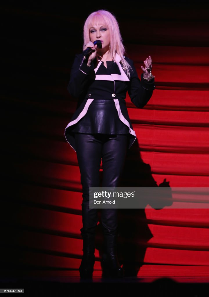 Cyndi Lauper addresses media during a dress rehearsal of Cyndi Lauper's Kinky Boots at Capitol Theatre on April 19, 2017 in Sydney, Australia.