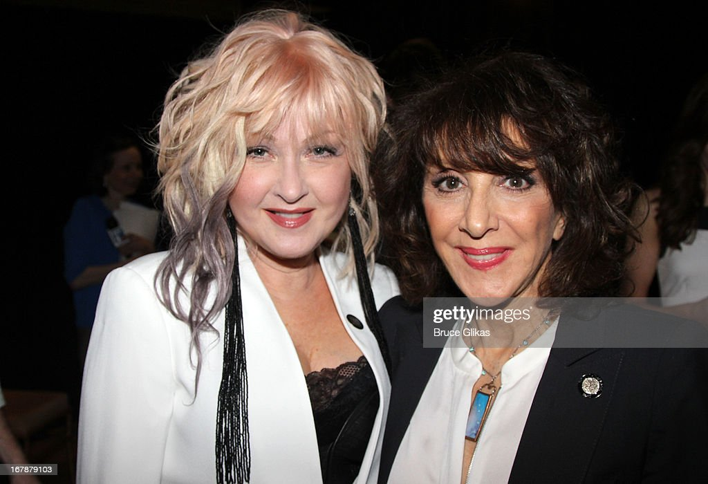 Cyndi Lauper and Andrea Martin attend the 2013 Tony Awards: The Meet The Nominees Press Junket at the Millenium Hilton on May 1, 2013 in New York City.