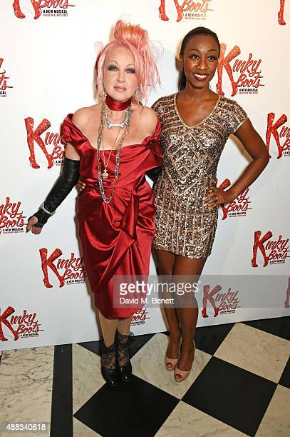Cyndi Lauper and Beverley Knight attend the Kinky Boots after party on opening night at The Grand Connaught Rooms on September 15 2015 in London...