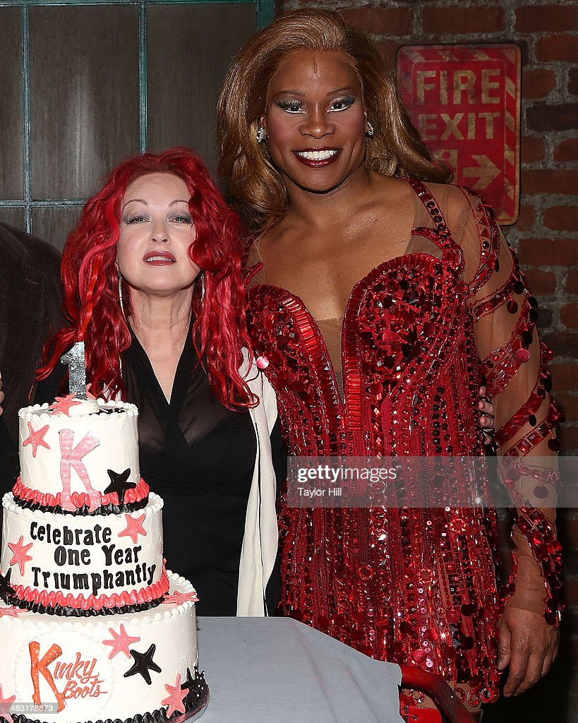 <a gi-track='captionPersonalityLinkClicked' href=/galleries/search?phrase=Cyndi+Lauper&family=editorial&specificpeople=171290 ng-click='$event.stopPropagation()'>Cyndi Lauper</a> and <a gi-track='captionPersonalityLinkClicked' href=/galleries/search?phrase=Billy+Porter&family=editorial&specificpeople=787592 ng-click='$event.stopPropagation()'>Billy Porter</a> attend 'Kinky Boots' one year anniversary on Broadway at The Hirshfeld Theatre on April 6, 2014 in New York City.