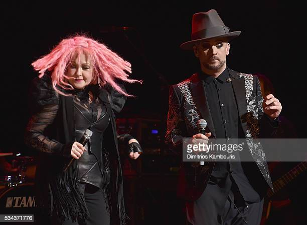 Cyndi Lauper and Boy George perform in concert at the Beacon Theatre on May 25 2016 in New York City