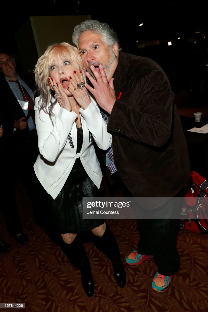 Cyndi Lauper and Harvey Fierstein attend the 2013 Tony Awards Meet The Nominees Press Reception on May 1 2013 in New York City