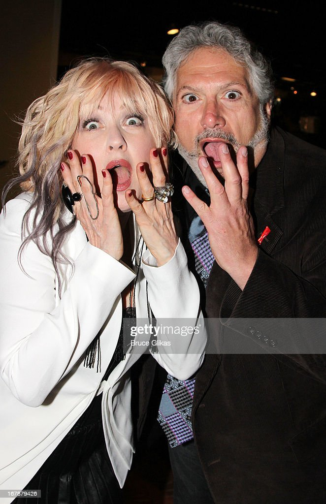 Cyndi Lauper and Harvey Fierstein attend the 2013 Tony Awards: The Meet The Nominees Press Junket at the Millenium Hilton on May 1, 2013 in New York City.