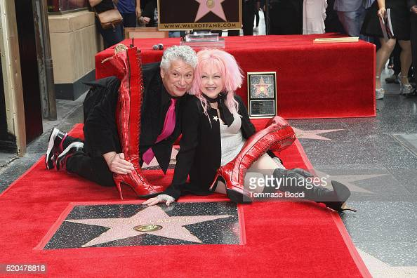 Cyndi Lauper and Harvey Fierstein honored with a double star ceremony on The Hollywood Walk Of Fame on April 11 2016 in Hollywood California