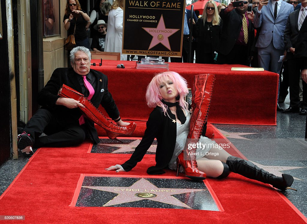 Cyndi Lauper And Harvey Fierstein honored with double star ceremony on the Hollywood Walk of Fame on April 11 2016 in Hollywood California