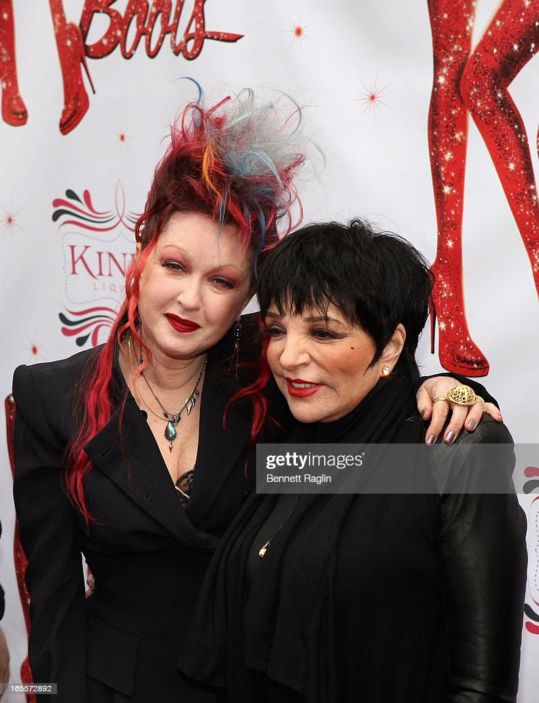 <a gi-track='captionPersonalityLinkClicked' href=/galleries/search?phrase=Cyndi+Lauper&family=editorial&specificpeople=171290 ng-click='$event.stopPropagation()'>Cyndi Lauper</a> and <a gi-track='captionPersonalityLinkClicked' href=/galleries/search?phrase=Liza+Minnelli&family=editorial&specificpeople=121547 ng-click='$event.stopPropagation()'>Liza Minnelli</a> attend the Media Opening for Kinky Boots on Broadway at the Al Hirschfeld Theatre on April 4, 2013 in New York City.