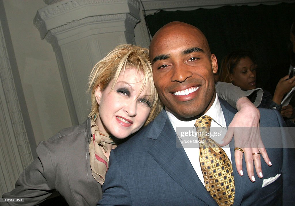 Cyndi Lauper and Tiki Barber during 58th Annual Tony Awards Nominee Announcements at The Hudson Theater in New York City New York United States