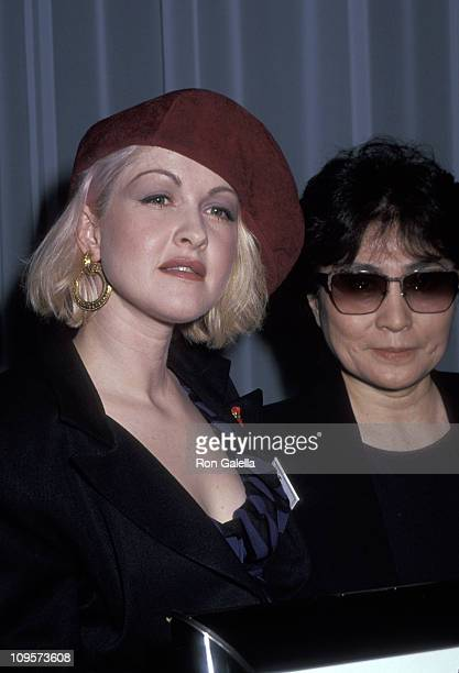 Cyndi Lauper and Yoko Ono during 'Lifebeat The Music Industry Fights AIDS' at The Supper Club in New York City New York United States