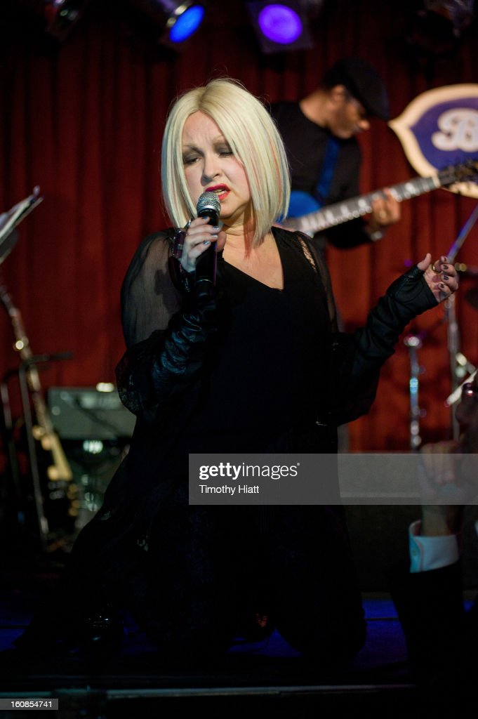 <a gi-track='captionPersonalityLinkClicked' href=/galleries/search?phrase=Cyndi+Lauper&family=editorial&specificpeople=171290 ng-click='$event.stopPropagation()'>Cyndi Lauper</a> appears and performs at Hearing Health Foundation's An Intimate Evening with <a gi-track='captionPersonalityLinkClicked' href=/galleries/search?phrase=Cyndi+Lauper&family=editorial&specificpeople=171290 ng-click='$event.stopPropagation()'>Cyndi Lauper</a> at B.B. King Blues Club & Grill on February 6, 2013 in New York City.