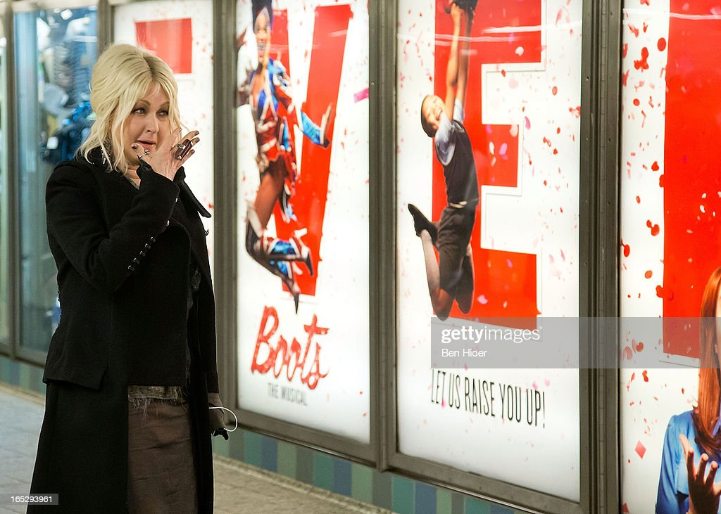 Cyndi Lauper attends Broadway's 'Kinky Boots' Everybody Say Yeah Ad Unveiling in Times Square on April 2, 2013 in New York City.