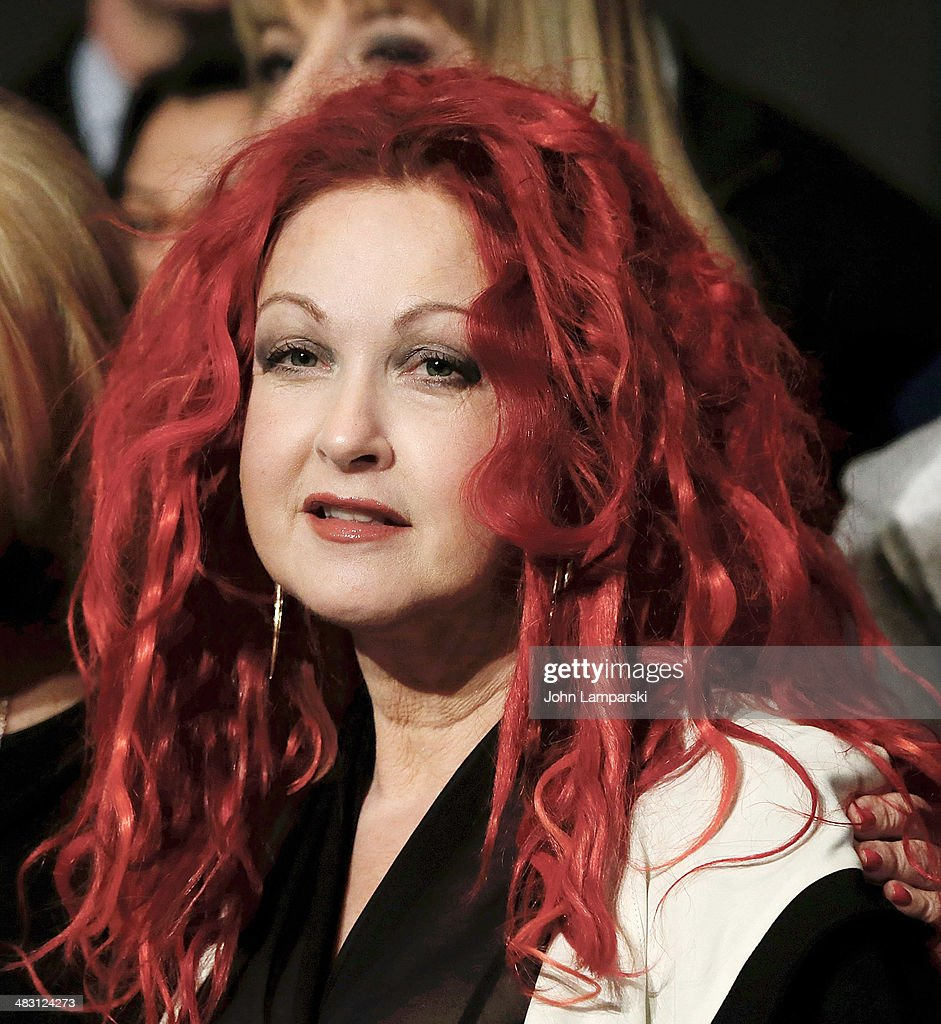 <a gi-track='captionPersonalityLinkClicked' href=/galleries/search?phrase=Cyndi+Lauper&family=editorial&specificpeople=171290 ng-click='$event.stopPropagation()'>Cyndi Lauper</a> attends 'Kinky Boots' one year anniversary on Broadway at The Hirshfeld Theatre on April 6, 2014 in New York City.