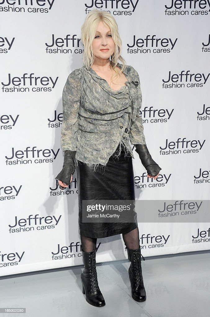 Cyndi Lauper attends the Jeffrey Fashion Cares 10th Anniversary Celebration at The Intrepid on April 2, 2013 in New York City.