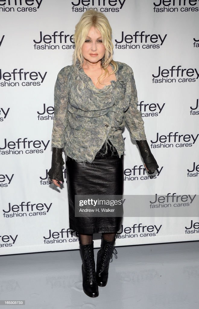 <a gi-track='captionPersonalityLinkClicked' href=/galleries/search?phrase=Cyndi+Lauper&family=editorial&specificpeople=171290 ng-click='$event.stopPropagation()'>Cyndi Lauper</a> attends the Jeffrey Fashion Cares 10th Anniversary Celebration at The Intrepid on April 2, 2013 in New York City.