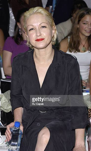 Cyndi Lauper during MercedesBenz Fashion Week Spring 2004 Nicole Miller Front Row at Bryant Park in New York City New York United States