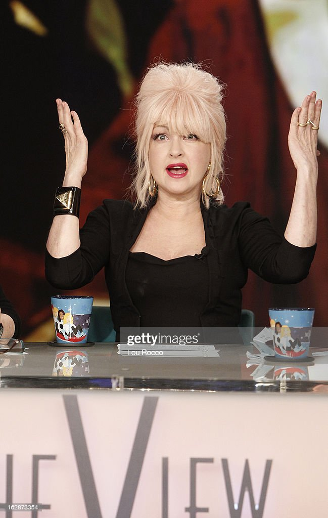 """THE VIEW - (2.27.13) Cyndi Lauper is the guest co-host today. The show features guests, Keri Russell and Matthew Rhys (""""The Americans""""); Dr. Sam Parnia (author, Erasing Death: The Science That is Rewriting the Boundaries Between Life and Death) and patient Joe Tiralosi; """"Year of the Viewer -- How Funny Are You? -- Hilarious Teachers"""" contest continues with guest judge Mario Cantone. 'The View' airs Monday-Friday (11:00 am-12:00 pm, ET) on the ABC Television Network. LAUPER"""