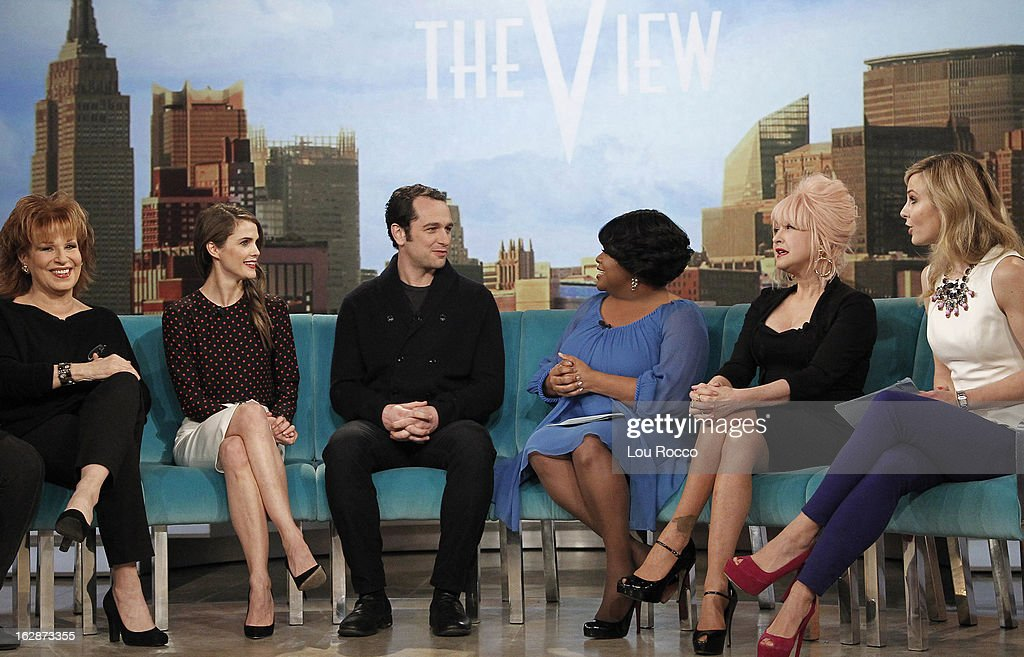 """THE VIEW - (2.27.13) Cyndi Lauper is the guest co-host today. The show features guests, Keri Russell and Matthew Rhys (""""The Americans""""); Dr. Sam Parnia (author, Erasing Death: The Science That is Rewriting the Boundaries Between Life and Death) and patient Joe Tiralosi; """"Year of the Viewer -- How Funny Are You? -- Hilarious Teachers"""" contest continues with guest judge Mario Cantone. 'The View' airs Monday-Friday (11:00 am-12:00 pm, ET) on the ABC Television Network. HASSELBECK"""