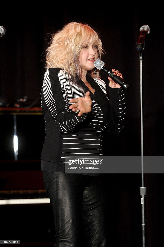 Cyndi Lauper speaks at the Family Equality Council's Night at the Pier at Pier 60 on April 29, 2013 in New York City.