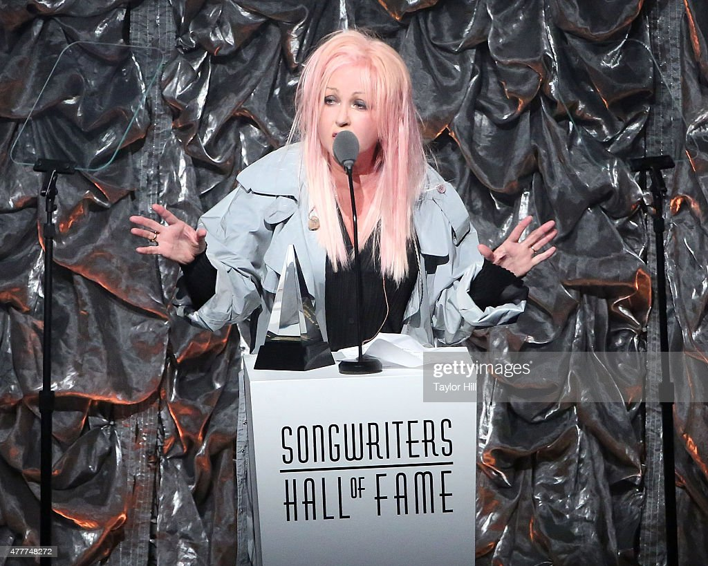 Cyndi Lauper speaks during the Songwriters Hall Of Fame 46th Annual Induction And Awards at Marriott Marquis Hotel on June 18 2015 in New York City
