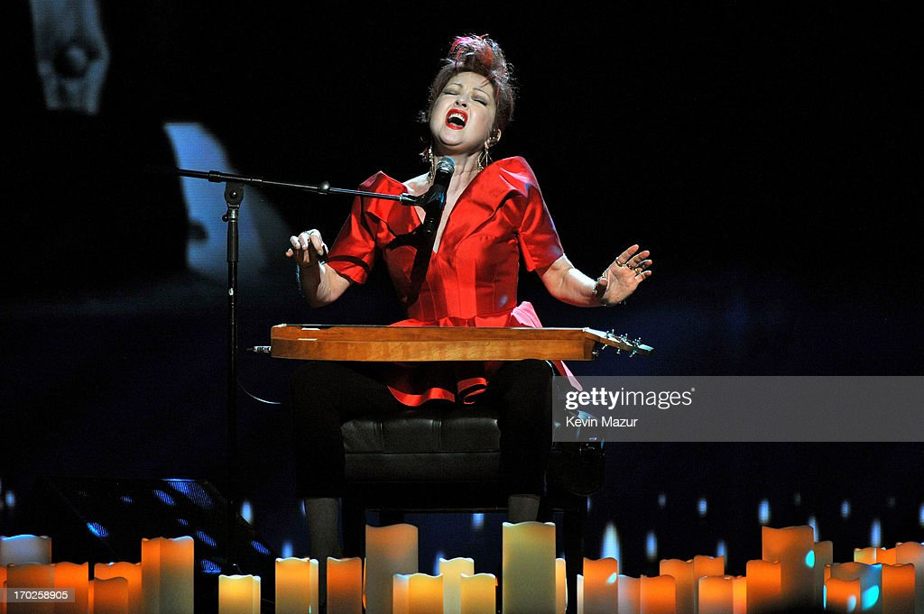 <a gi-track='captionPersonalityLinkClicked' href=/galleries/search?phrase=Cyndi+Lauper&family=editorial&specificpeople=171290 ng-click='$event.stopPropagation()'>Cyndi Lauper</a>, winner of the Tony Award for Best Original Score for 'Kinky Boots,' performs onstage at The 67th Annual Tony Awards at Radio City Music Hall on June 9, 2013 in New York City.