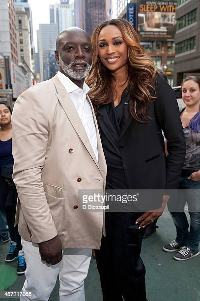 Cynthia Bailey and husband Peter Thomas visit 'Extra' in Times Square on April 28 2014 in New York City