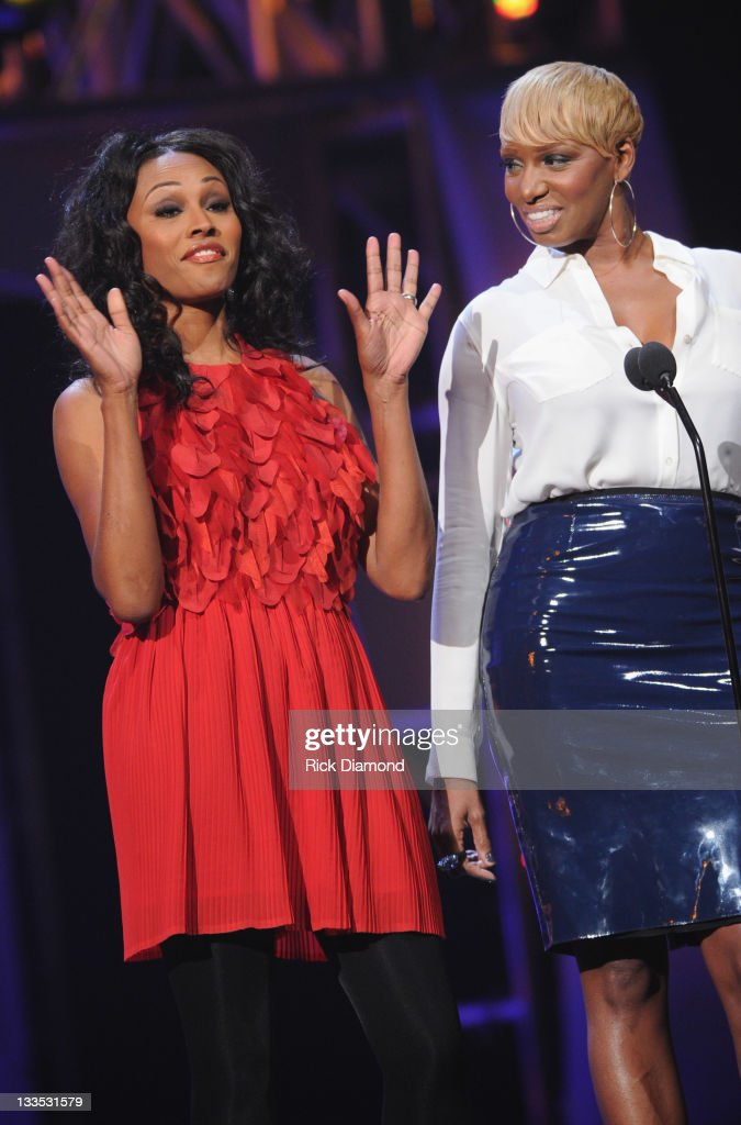 Cynthia Bailey and <a gi-track='captionPersonalityLinkClicked' href=/galleries/search?phrase=NeNe+Leakes&family=editorial&specificpeople=5446374 ng-click='$event.stopPropagation()'>NeNe Leakes</a> during the 2011 Soul Train Awards at The Fox Theatre on November 17, 2011 in Atlanta, Georgia.
