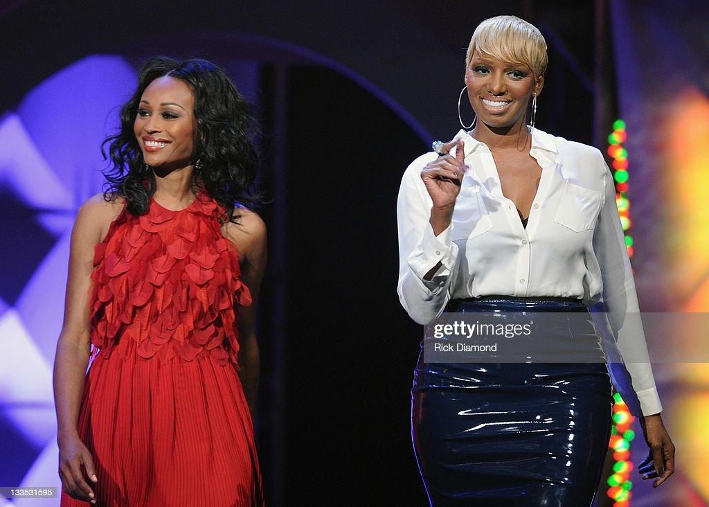Cynthia Bailey and NeNe Leakes during the 2011 Soul Train Awards at The Fox Theatre on November 17 2011 in Atlanta Georgia