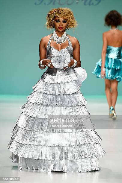Cynthia Bailey walks the runway at the Betsey Johnson fashion show during MercedesBenz Fashion Week Spring 2015 at The Salon at Lincoln Center on...