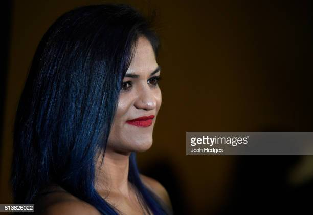 Cynthia Calvillo interacts with media during the UFC Ultimate Media Day at the Crowne Plaza Glasgow on July 13 2017 in Glasgow Scotland