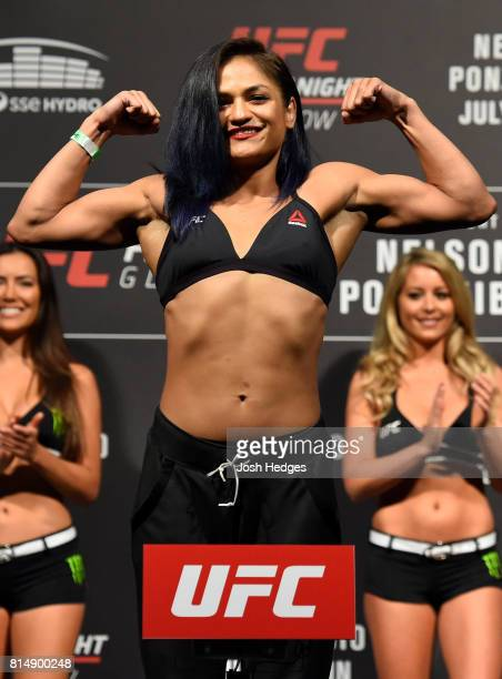 Cynthia Calvillo poses on the scale during the UFC Fight Night weighin at the SSE Hydro Arena Glasgow on July 15 2017 in Glasgow Scotland