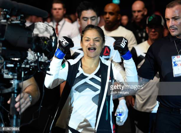 Cynthia Calvillo prepares to enter the Octagon before facing Joanne Calderwood of Scotlandin their women's strawweight bout during the UFC Fight...