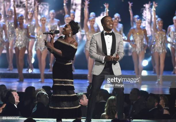 Cynthia Erivo and Leslie Odom Jr perform with the Rockettes onstage during the 2017 Tony Awards at Radio City Music Hall on June 11 2017 in New York...