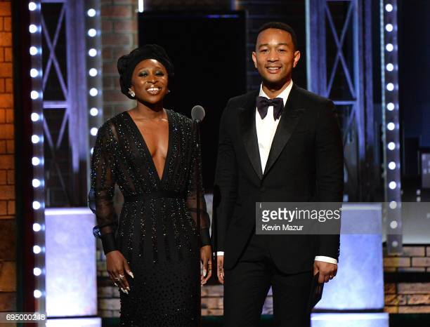 Cynthia Erivo John Legend present award to Benj Pasek and Justin Paul onstage during the 2017 Tony Awards at Radio City Music Hall on June 11 2017 in...