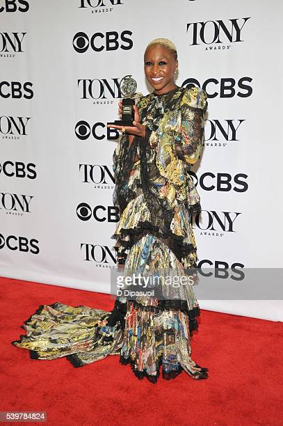 Cynthia Erivo poses in the press room with her award at the 70th Annual Tony Awards at the Beacon Theatre on June 12 2016 in New York City