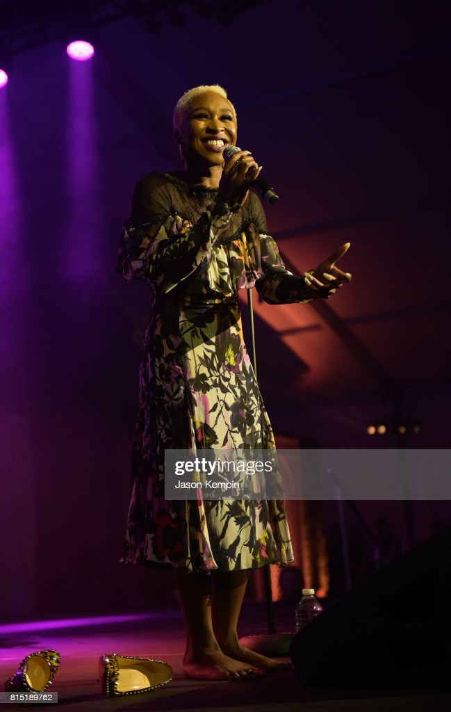 Cynthia Erivo pserforms on stage during 'Midnight At The Oasis' Annual Art For Life Benefit hosted by Russell Simmons' Rush Philanthropic Arts Foundation at Fairview Farms on July 15, 2017 in Water Mill, New York.