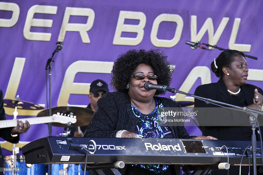 Cynthia Girtley performs during the Verizon Super Bowl Boulevard at Woldenberg Park on February 3, 2013 in New Orleans, Louisiana.