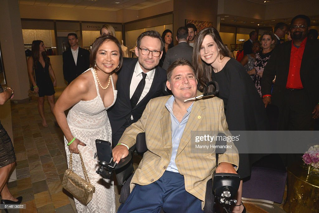 Cynthia Halelamien, Christian Slater, Marc Buoniconti and Brittany Slater attends Destination Fashion 2016 to benefit The Buoniconti Fund to Cure Paralysis, the fundraising arm of The Miami Project to Cure Paralysis at Bal Harbour Shops on March 5, 2016 in Miami, Florida.