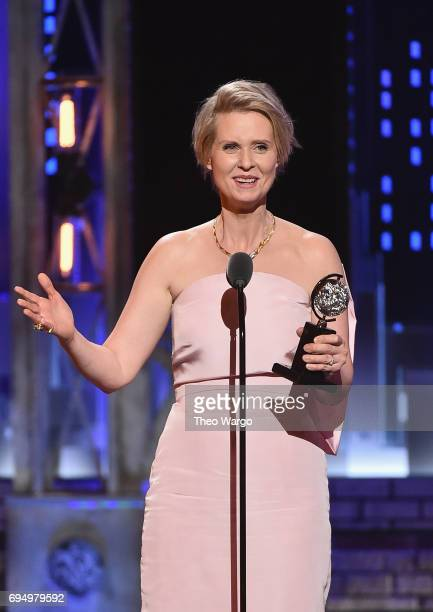 """Cynthia Nixon accepts the award for Best Performance by an Actress in a Featured Role in a Play for """"Lillian Hellman's The Little Foxes"""" onstage..."""