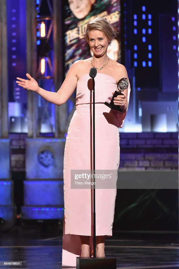 """Cynthia Nixon accepts the award for Best Performance by an Actress in a Featured Role in a Play for """"Lillian Hellman's The Little Foxes"""" onstage during the 2017 Tony Awards at Radio City Music Hall on June 11, 2017 in New York City."""