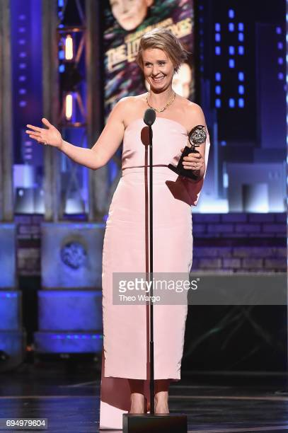 "Cynthia Nixon accepts the award for Best Performance by an Actress in a Featured Role in a Play for ""Lillian Hellman's The Little Foxes"" onstage..."