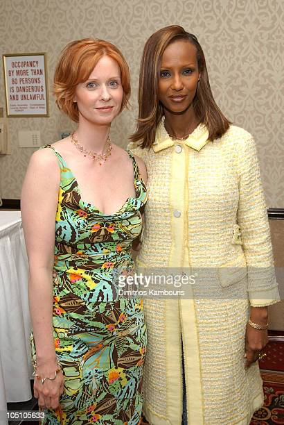 Cynthia Nixon and Iman during 25th Annual Outstanding Mother Awards Luncheon at Marriott Marquis Hotel in New York City New York United States