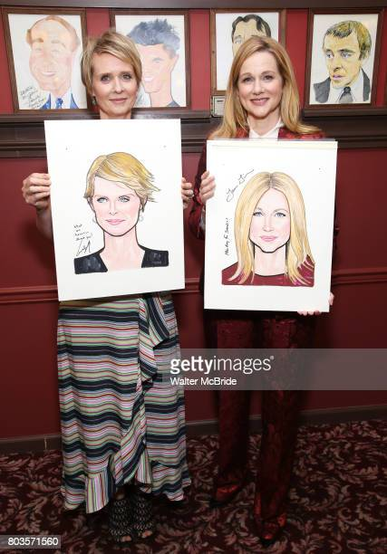 Cynthia Nixon and Laura Linney attend the portrait unveilings of Laura Linney and Cynthia Nixon starring on Broadway in the Manhattan Theatre Club's...