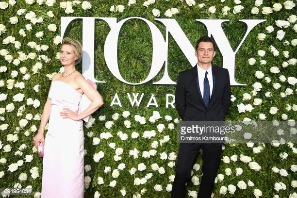 Cynthia Nixon and Orlando Bloom attend the 2017 Tony Awards at Radio City Music Hall on June 11 2017 in New York City