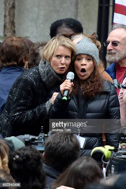 Cynthia Nixon and Rosie Perez speak during the 2017 Women's March Sister March in New York on January 21 2017 in New York City