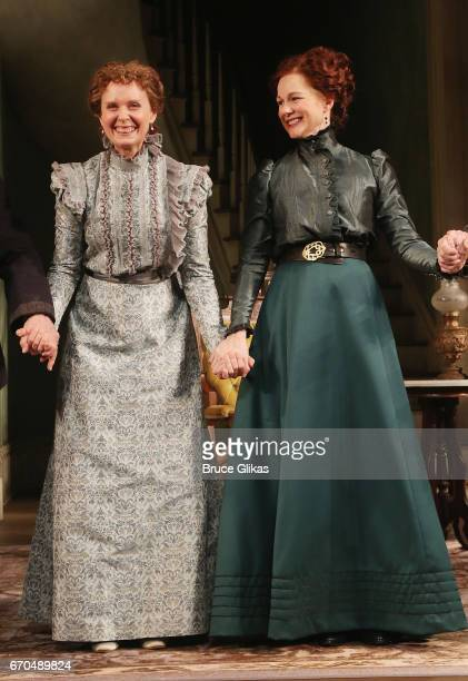 Cynthia Nixon as 'Birdie' and Laura Linney as 'Regina' take their opening night curtain call for Manhattan Theatre Club's production of 'The Little...