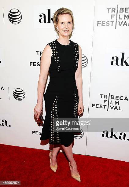 Cynthia Nixon attends the premiere of 'The Adderall Diaries' during the 2015 Tribeca Film Festival at BMCC Tribeca PAC on April 16 2015 in New York...