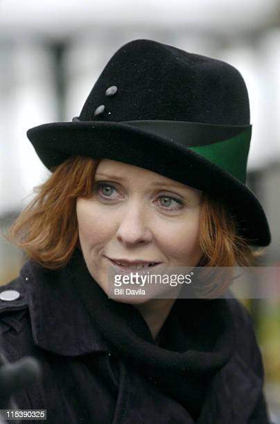 Cynthia Nixon during 'Sex and The City' on Location December 1 2003 at New York City in New York NY United States